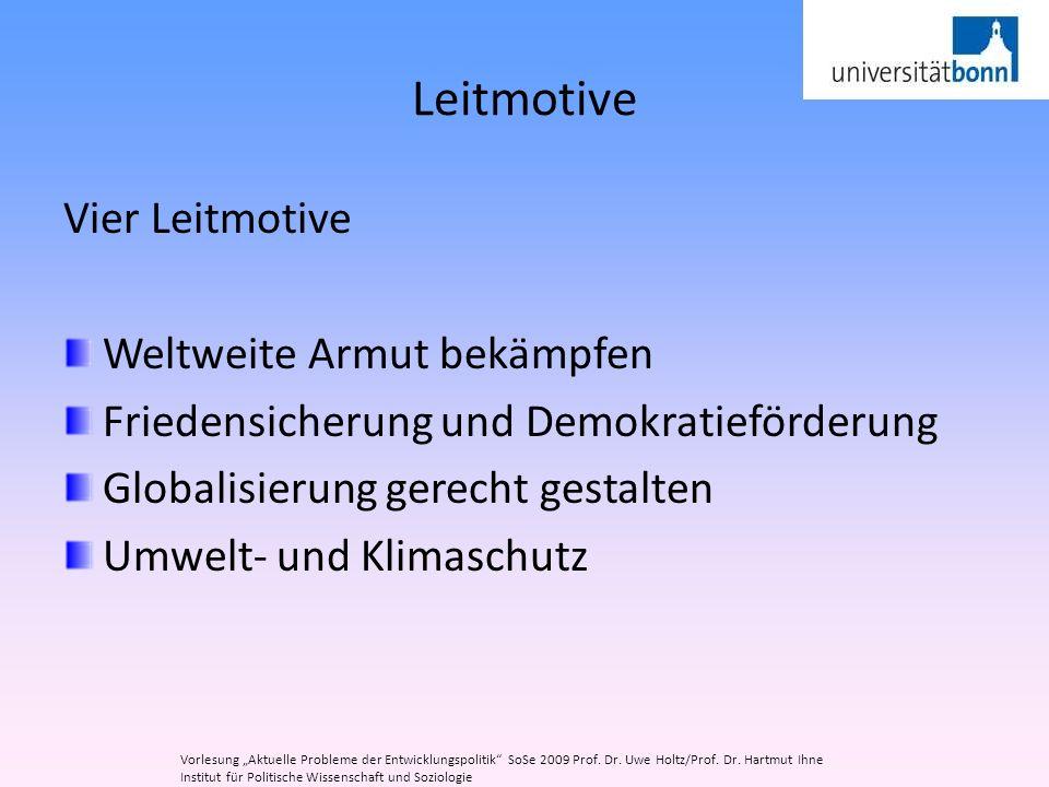 Leitmotive Vier Leitmotive Weltweite Armut bekämpfen Friedensicherung und Demokratieförderung Globalisierung gerecht gestalten Umwelt- und Klimaschutz