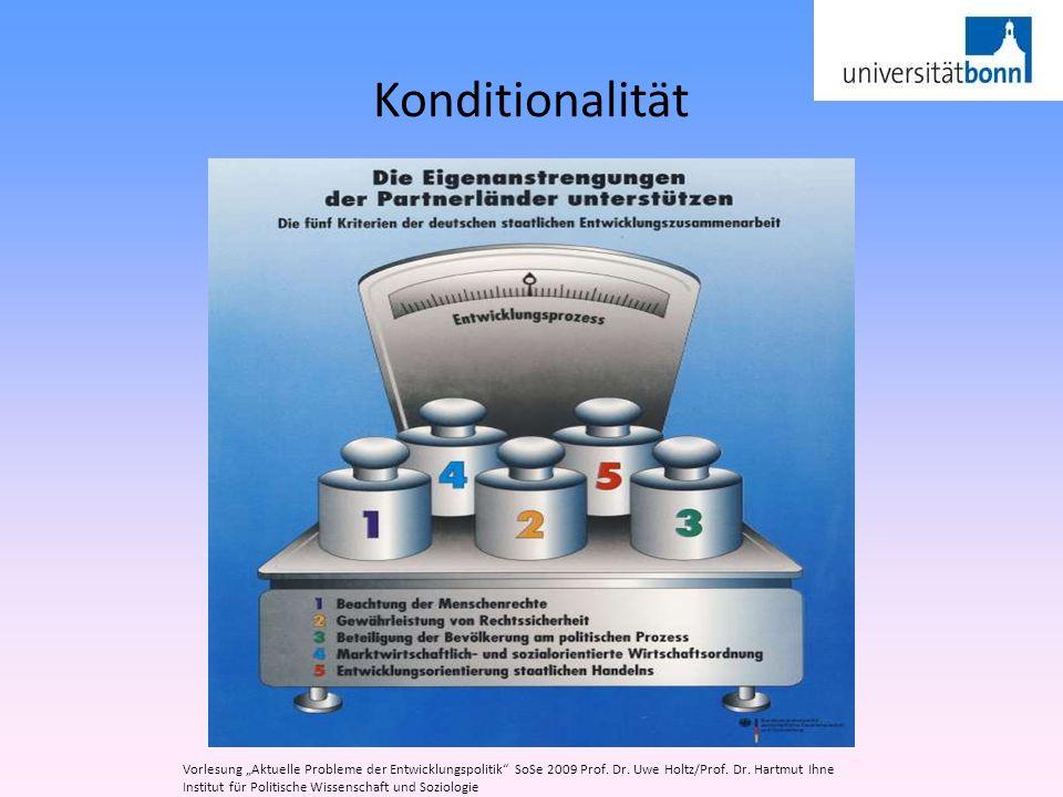 Konditionalität Vorlesung Aktuelle Probleme der Entwicklungspolitik SoSe 2009 Prof. Dr. Uwe Holtz/Prof. Dr. Hartmut Ihne Institut für Politische Wisse