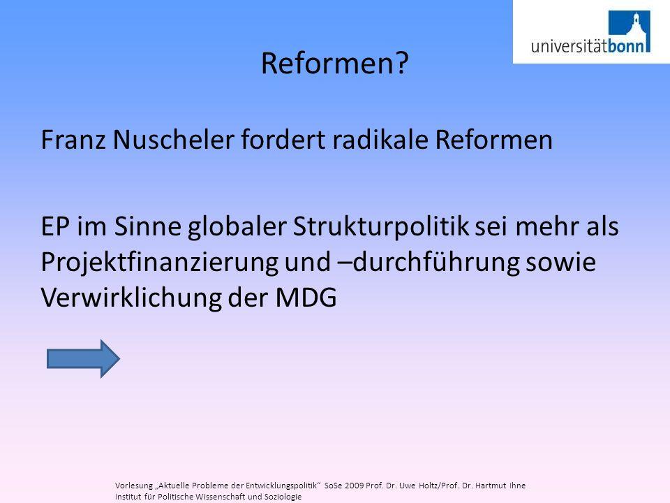 Reformen? Franz Nuscheler fordert radikale Reformen EP im Sinne globaler Strukturpolitik sei mehr als Projektfinanzierung und –durchführung sowie Verw