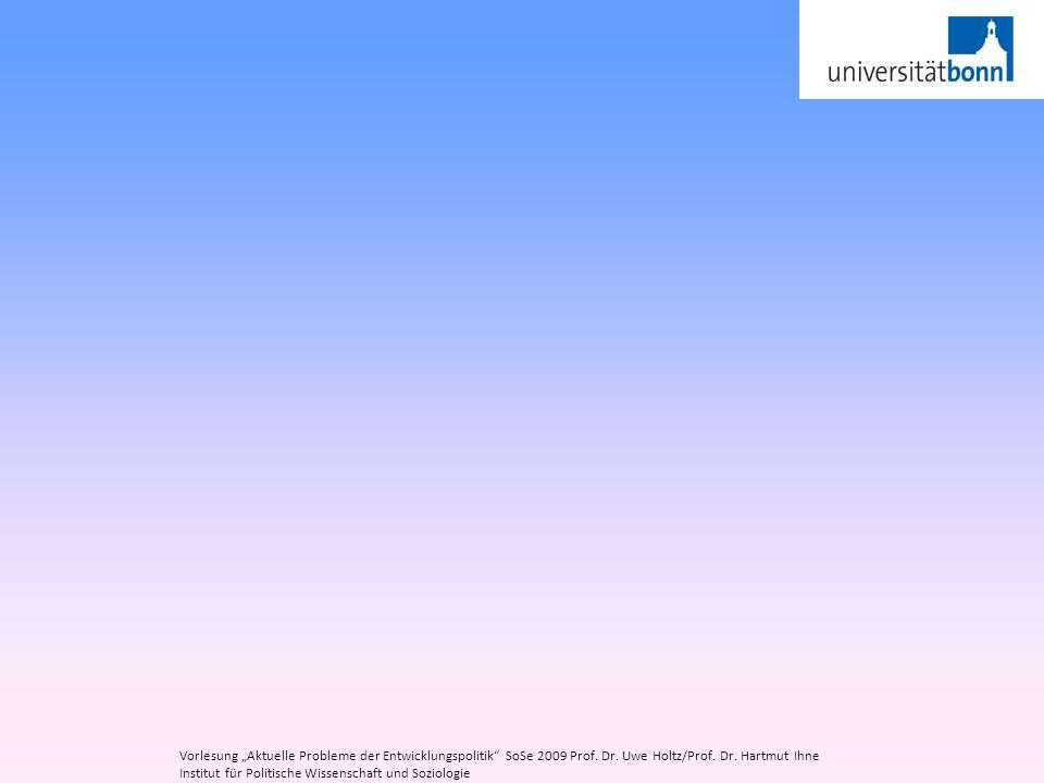 Vorlesung Aktuelle Probleme der Entwicklungspolitik SoSe 2009 Prof. Dr. Uwe Holtz/Prof. Dr. Hartmut Ihne Institut für Politische Wissenschaft und Sozi