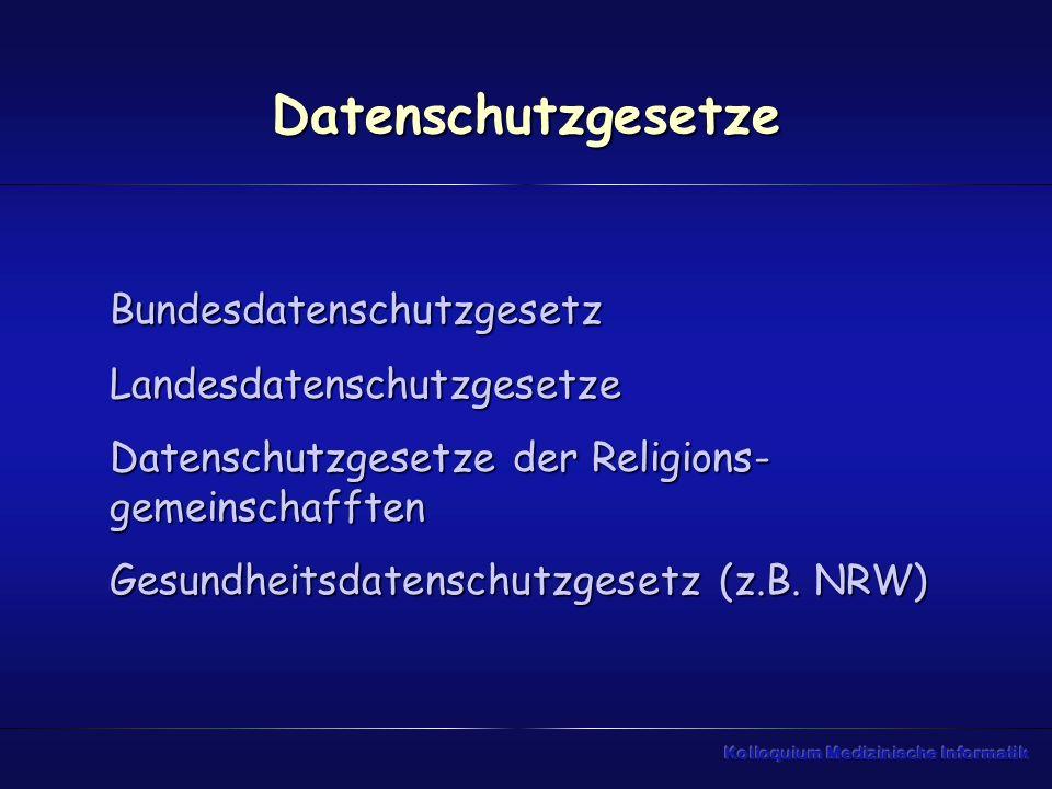 Datenschutzgesetze BundesdatenschutzgesetzLandesdatenschutzgesetze Datenschutzgesetze der Religions- gemeinschafften Gesundheitsdatenschutzgesetz (z.B.