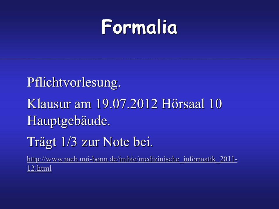 Pflichtvorlesung.Klausur am 19.07.2012 Hörsaal 10 Hauptgebäude.