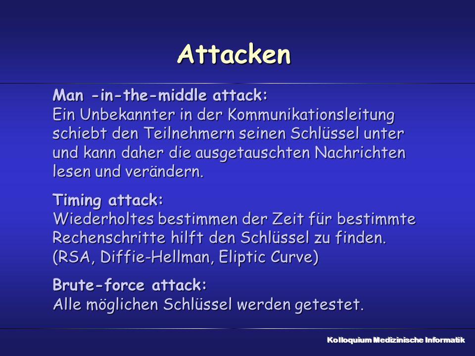 Attacken Man -in-the-middle attack: Ein Unbekannter in der Kommunikationsleitung schiebt den Teilnehmern seinen Schlüssel unter und kann daher die ausgetauschten Nachrichten lesen und verändern.