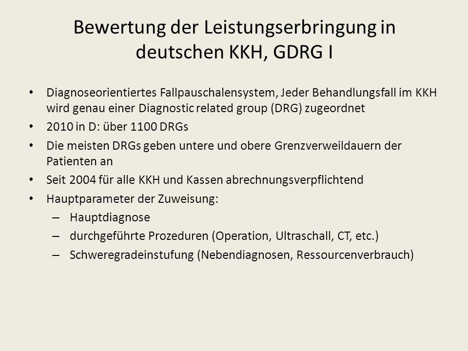 Bewertung der Leistungserbringung in deutschen KKH, GDRG I Diagnoseorientiertes Fallpauschalensystem, Jeder Behandlungsfall im KKH wird genau einer Di