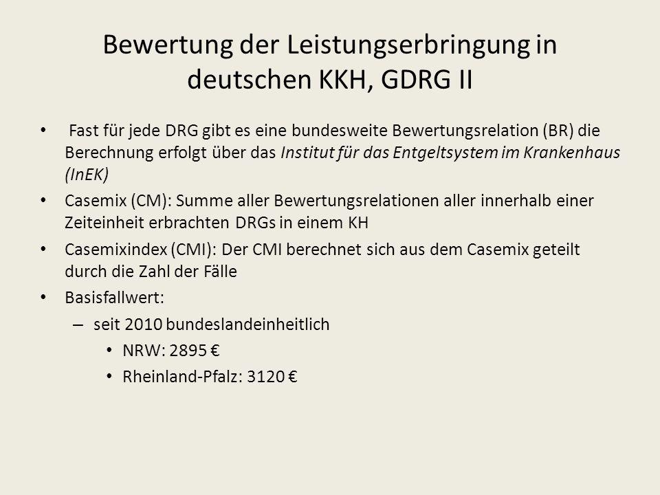 Fast für jede DRG gibt es eine bundesweite Bewertungsrelation (BR) die Berechnung erfolgt über das Institut für das Entgeltsystem im Krankenhaus (InEK