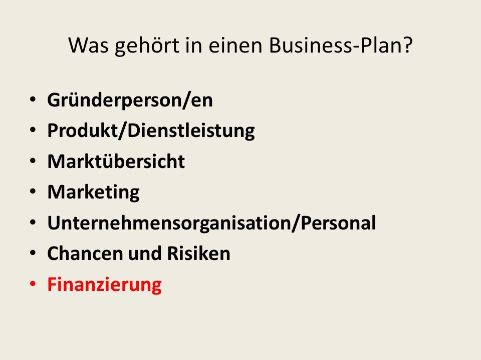 Was gehört in einen Business-Plan? Gründerperson/en Produkt/Dienstleistung Marktübersicht Marketing Unternehmensorganisation/Personal Chancen und Risi