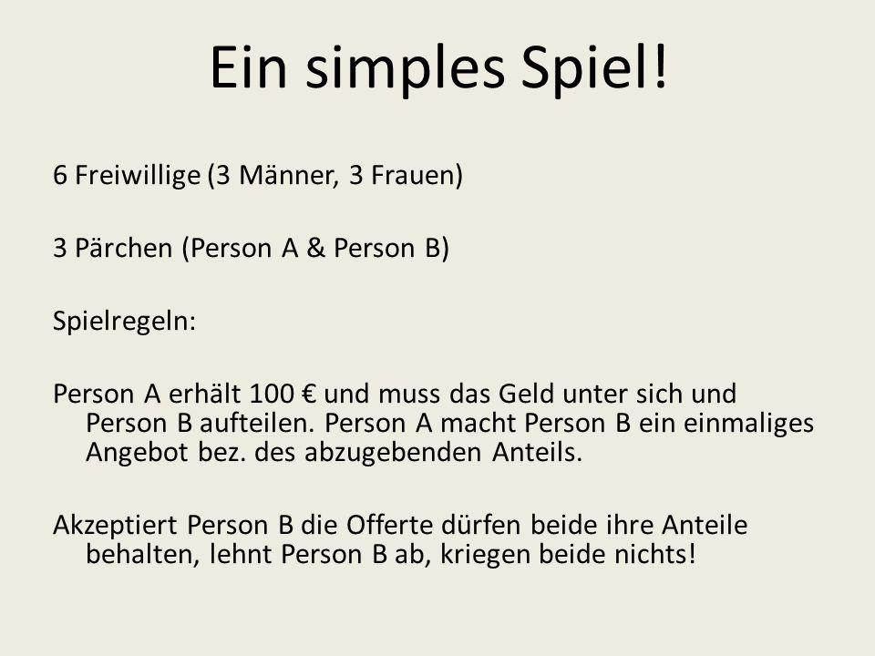 Ein simples Spiel! 6 Freiwillige (3 Männer, 3 Frauen) 3 Pärchen (Person A & Person B) Spielregeln: Person A erhält 100 und muss das Geld unter sich un