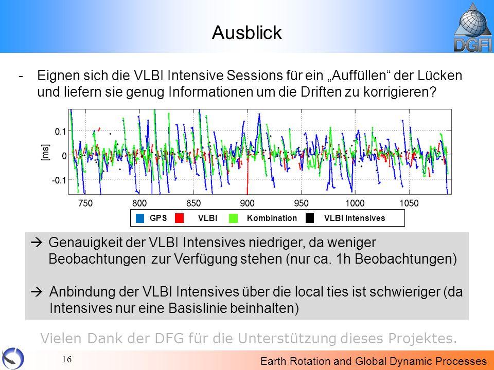 Earth Rotation and Global Dynamic Processes 16 Ausblick -Eignen sich die VLBI Intensive Sessions für ein Auffüllen der Lücken und liefern sie genug In