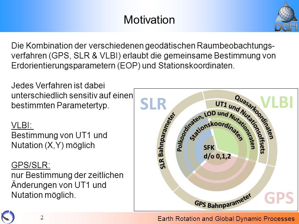 Earth Rotation and Global Dynamic Processes 2 Motivation Die Kombination der verschiedenen geodätischen Raumbeobachtungs- verfahren (GPS, SLR & VLBI)
