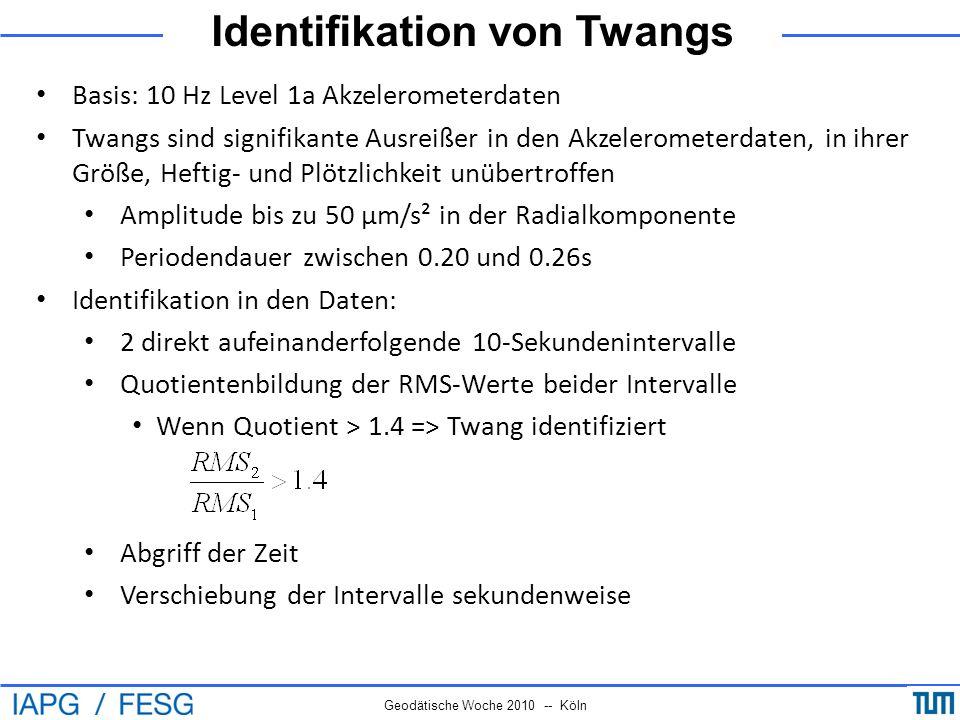 Identifikation von Twangs Geodätische Woche 2010 -- Köln Basis: 10 Hz Level 1a Akzelerometerdaten Twangs sind signifikante Ausreißer in den Akzelerome