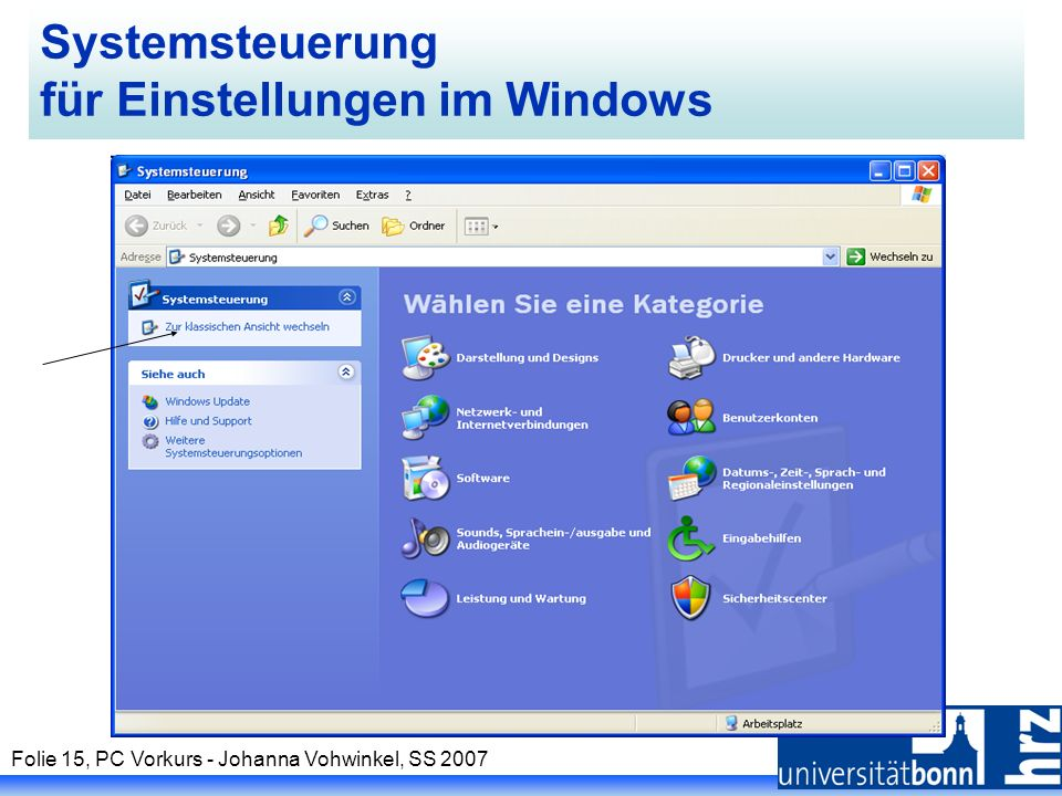 Folie 15, PC Vorkurs - Johanna Vohwinkel, SS 2007 Systemsteuerung für Einstellungen im Windows