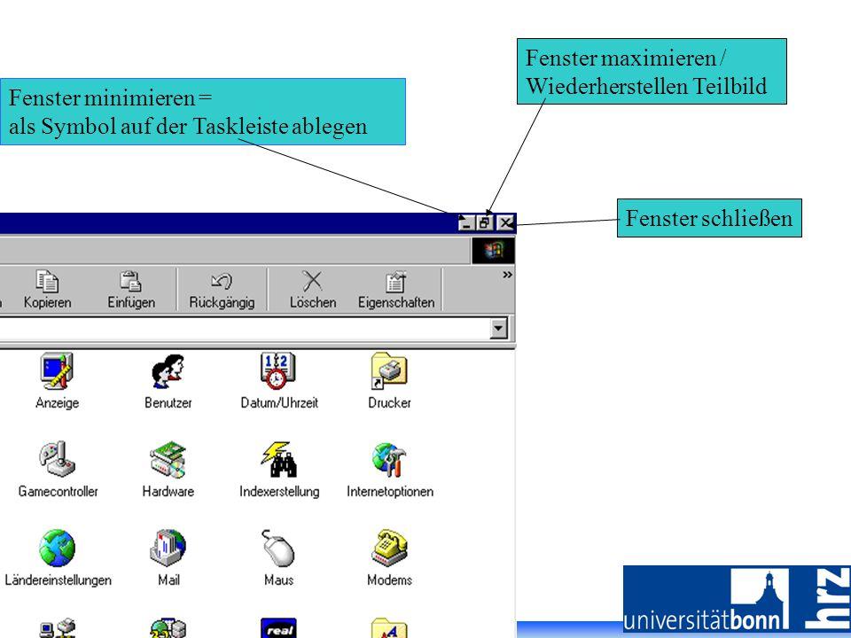 Folie 16, PC Vorkurs - Johanna Vohwinkel, SS 2007 Fenster schließen Fenster minimieren = als Symbol auf der Taskleiste ablegen Fenster maximieren / Wi
