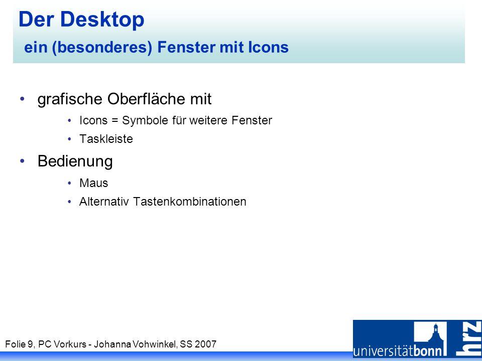 Folie 9, PC Vorkurs - Johanna Vohwinkel, SS 2007 Der Desktop ein (besonderes) Fenster mit Icons grafische Oberfläche mit Icons = Symbole für weitere F