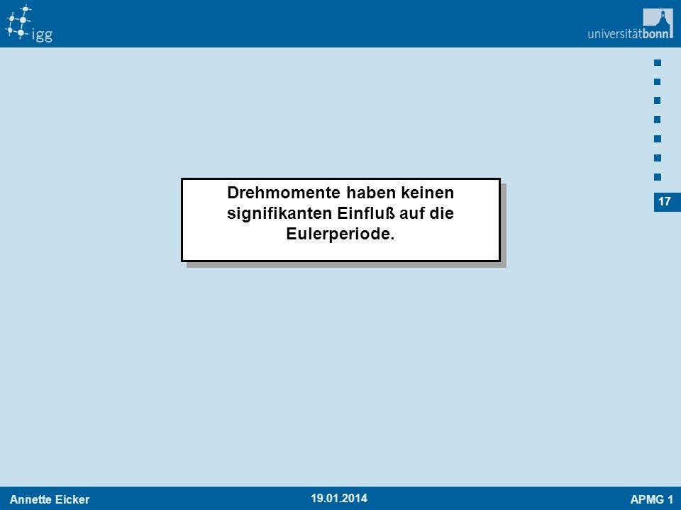 Annette EickerAPMG 1 17 19.01.2014 Drehmomente haben keinen signifikanten Einfluß auf die Eulerperiode.