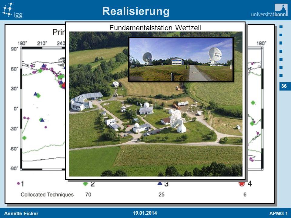 Annette EickerAPMG 1 36 19.01.2014 Realisierung Fundamentalstation Wettzell