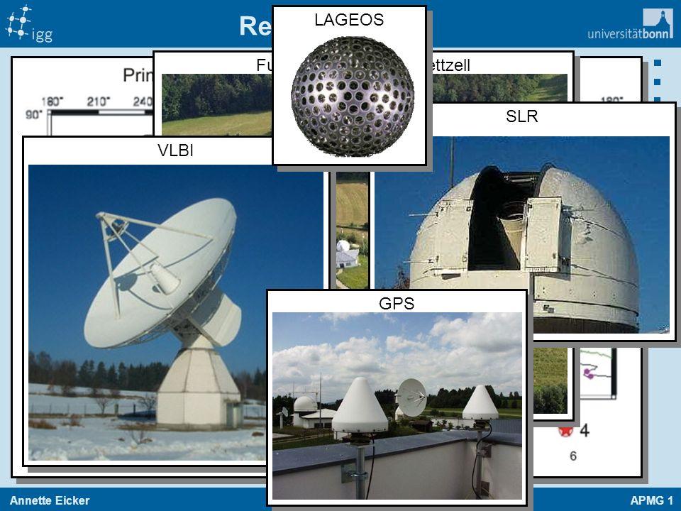 Annette EickerAPMG 1 37 19.01.2014 Realisierung Fundamentalstation Wettzell VLBI SLR LAGEOS GPS