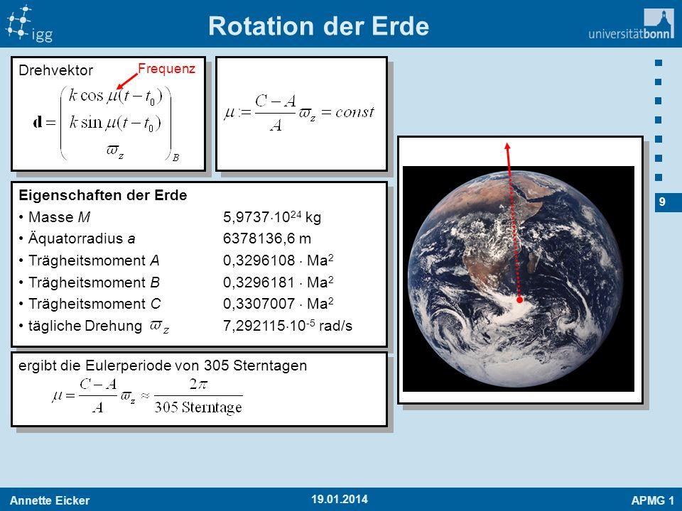 Annette EickerAPMG 1 9 19.01.2014 Rotation der Erde Drehvektor Eigenschaften der Erde Masse M5,9737 10 24 kg Äquatorradius a6378136,6 m Trägheitsmomen