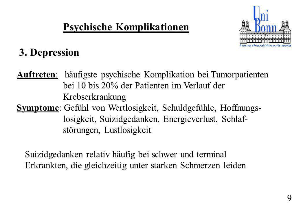 Psychische Komplikationen 3. Depression Auftreten: häufigste psychische Komplikation bei Tumorpatienten bei 10 bis 20% der Patienten im Verlauf der Kr