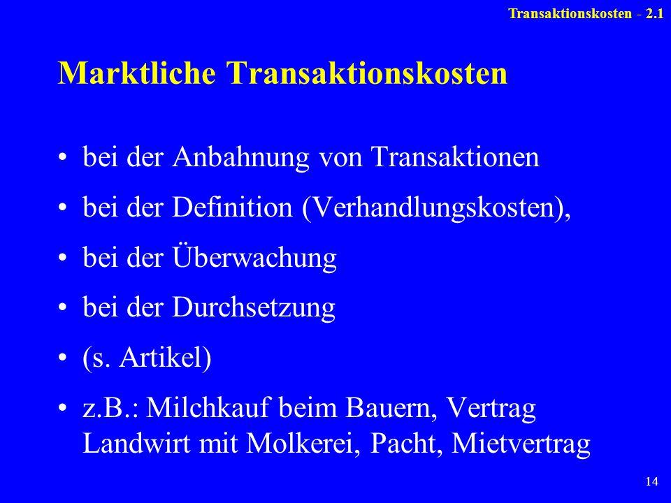 14 Marktliche Transaktionskosten bei der Anbahnung von Transaktionen bei der Definition (Verhandlungskosten), bei der Überwachung bei der Durchsetzung