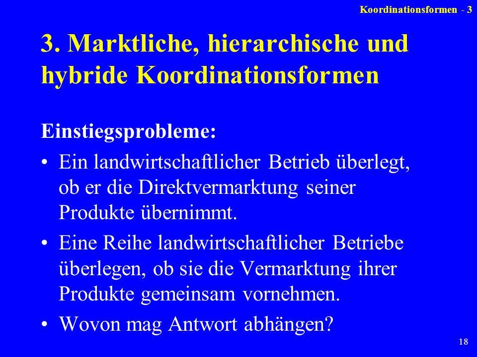 18 3. Marktliche, hierarchische und hybride Koordinationsformen Einstiegsprobleme: Ein landwirtschaftlicher Betrieb überlegt, ob er die Direktvermarkt
