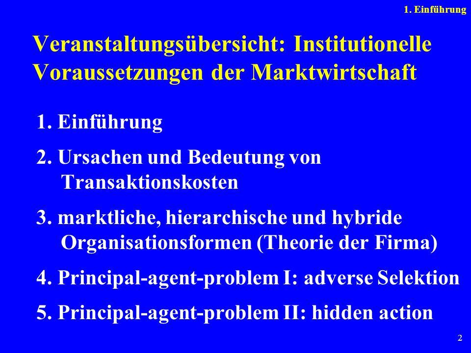 2 Veranstaltungsübersicht: Institutionelle Voraussetzungen der Marktwirtschaft 1. Einführung 2. Ursachen und Bedeutung von Transaktionskosten 3. markt