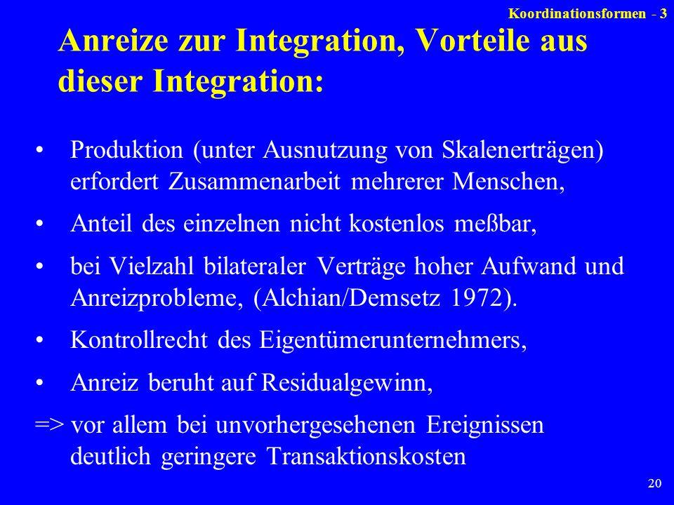 20 Anreize zur Integration, Vorteile aus dieser Integration: Produktion (unter Ausnutzung von Skalenerträgen) erfordert Zusammenarbeit mehrerer Mensch