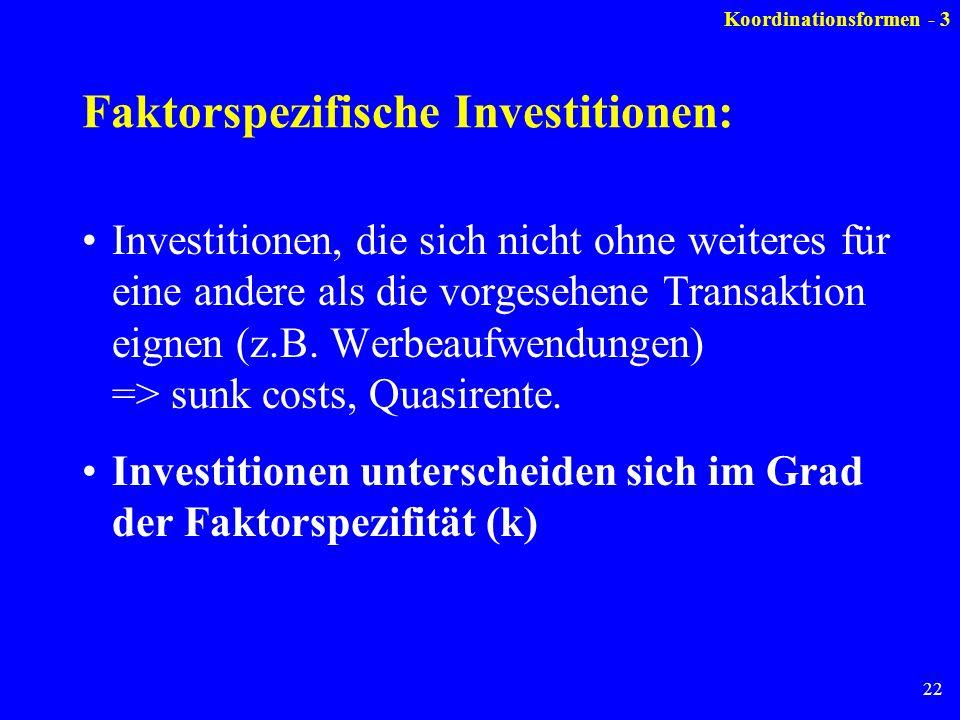 22 Faktorspezifische Investitionen: Investitionen, die sich nicht ohne weiteres für eine andere als die vorgesehene Transaktion eignen (z.B. Werbeaufw