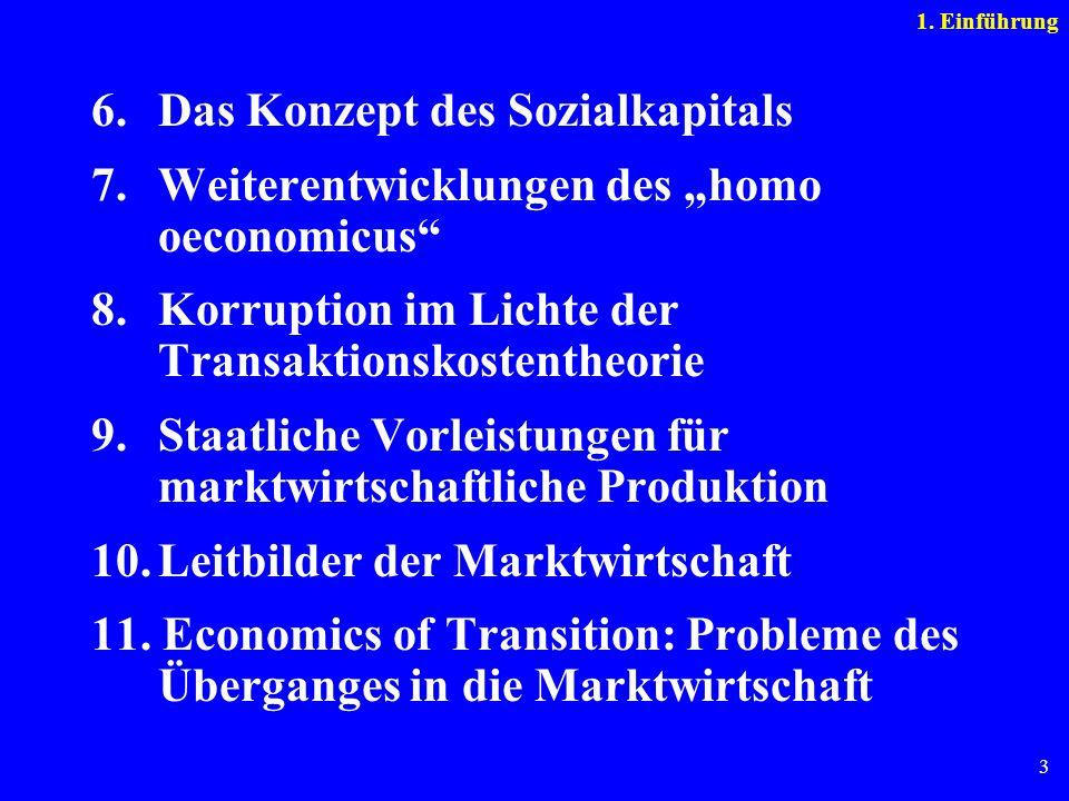 3 6. Das Konzept des Sozialkapitals 7.Weiterentwicklungen des homo oeconomicus 8. Korruption im Lichte der Transaktionskostentheorie 9. Staatliche Vor