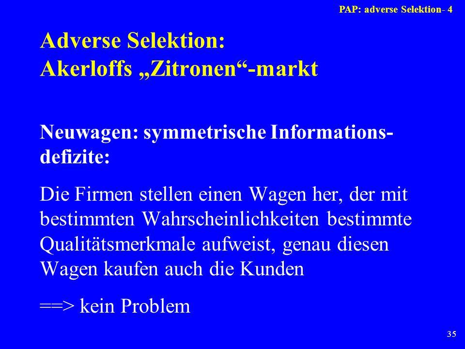 35 Adverse Selektion: Akerloffs Zitronen-markt Neuwagen: symmetrische Informations- defizite: Die Firmen stellen einen Wagen her, der mit bestimmten W