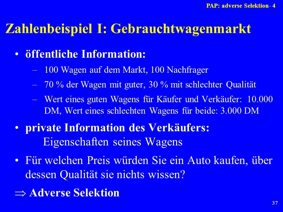 37 Zahlenbeispiel I: Gebrauchtwagenmarkt öffentliche Information: –100 Wagen auf dem Markt, 100 Nachfrager –70 % der Wagen mit guter, 30 % mit schlech