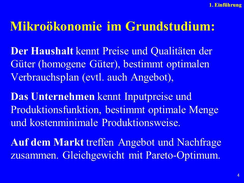 4 Mikroökonomie im Grundstudium: Der Haushalt kennt Preise und Qualitäten der Güter (homogene Güter), bestimmt optimalen Verbrauchsplan (evtl. auch An