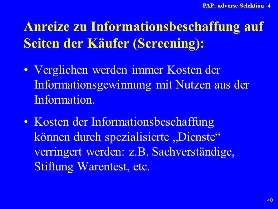 40 Anreize zu Informationsbeschaffung auf Seiten der Käufer (Screening): Verglichen werden immer Kosten der Informationsgewinnung mit Nutzen aus der I