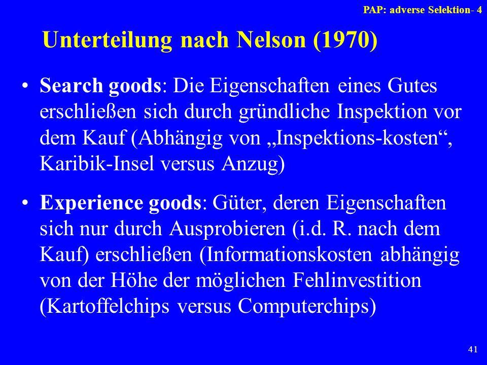 41 Unterteilung nach Nelson (1970) Search goods: Die Eigenschaften eines Gutes erschließen sich durch gründliche Inspektion vor dem Kauf (Abhängig von