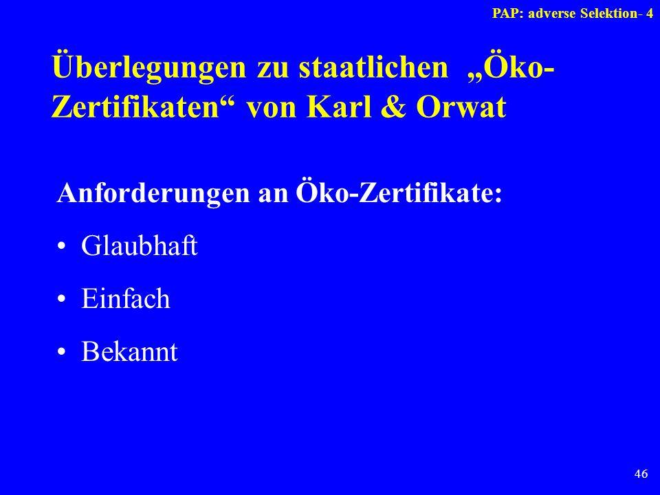 46 Überlegungen zu staatlichen Öko- Zertifikaten von Karl & Orwat Anforderungen an Öko-Zertifikate: Glaubhaft Einfach Bekannt PAP: adverse Selektion-
