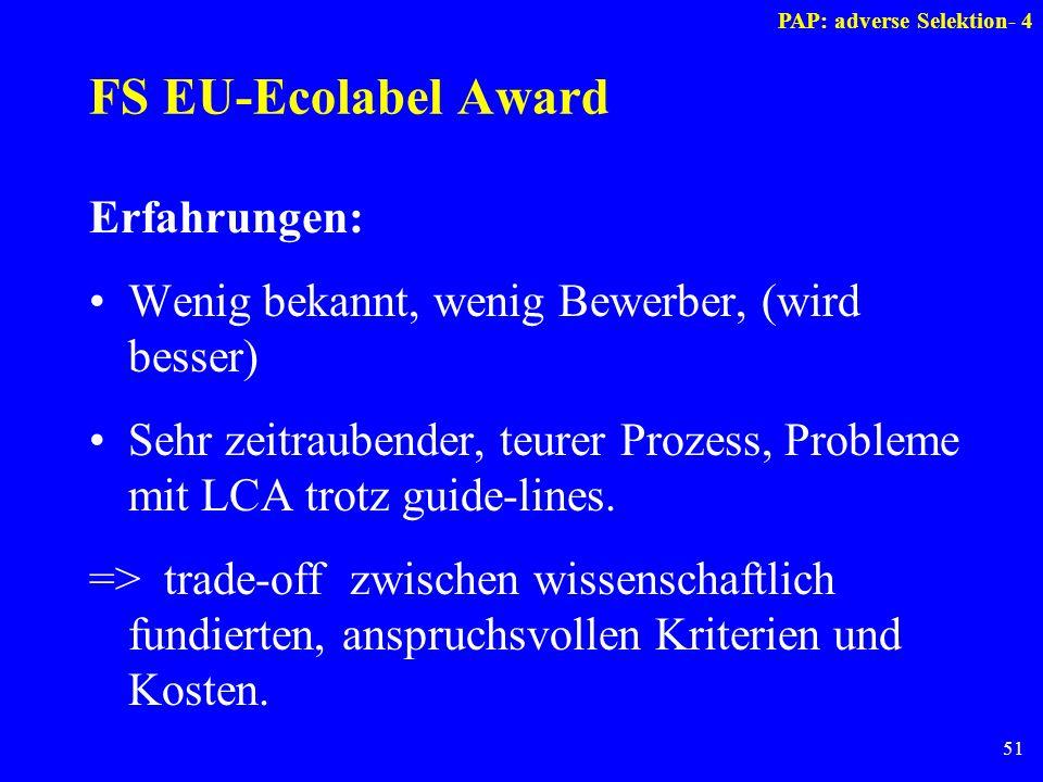 51 FS EU-Ecolabel Award Erfahrungen: Wenig bekannt, wenig Bewerber, (wird besser) Sehr zeitraubender, teurer Prozess, Probleme mit LCA trotz guide-lin