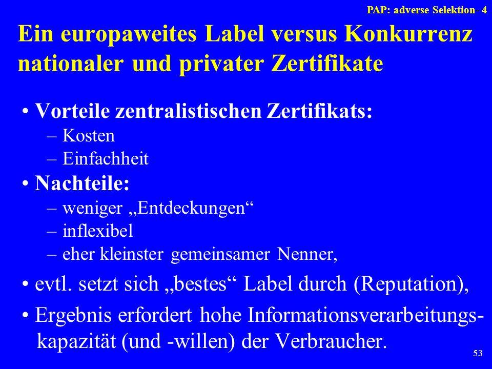 53 Ein europaweites Label versus Konkurrenz nationaler und privater Zertifikate Vorteile zentralistischen Zertifikats: –Kosten –Einfachheit Nachteile: