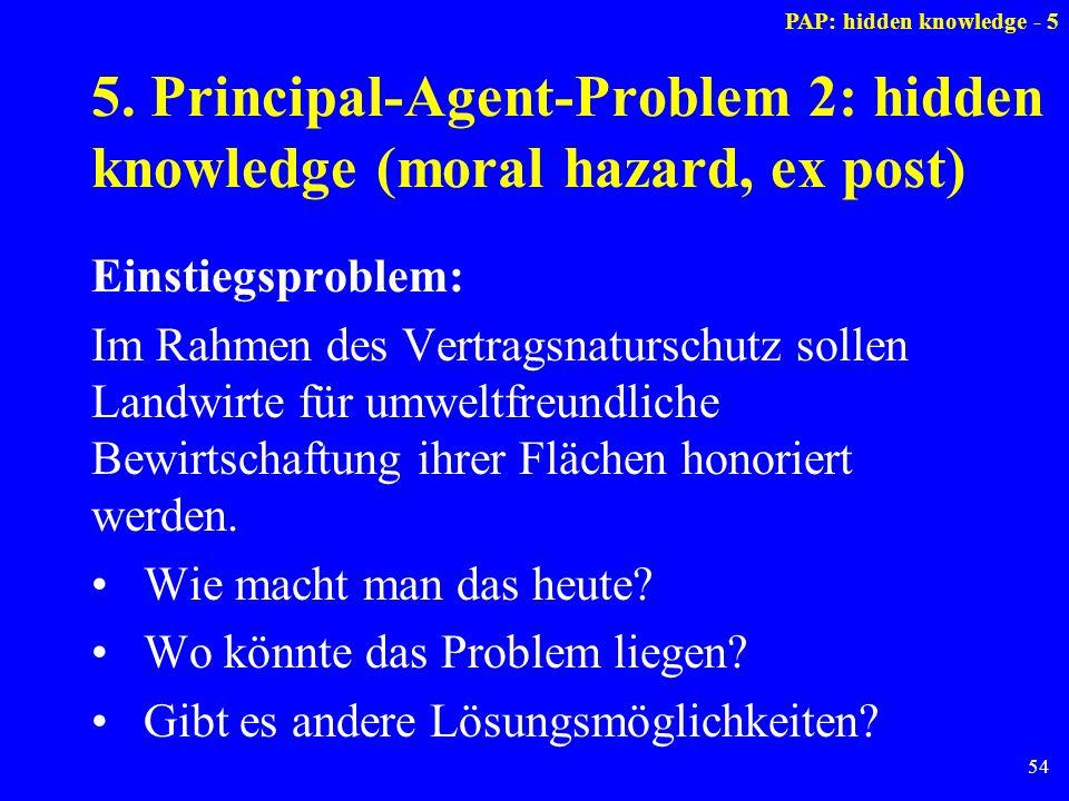54 5. Principal-Agent-Problem 2: hidden knowledge (moral hazard, ex post) Einstiegsproblem: Im Rahmen des Vertragsnaturschutz sollen Landwirte für umw