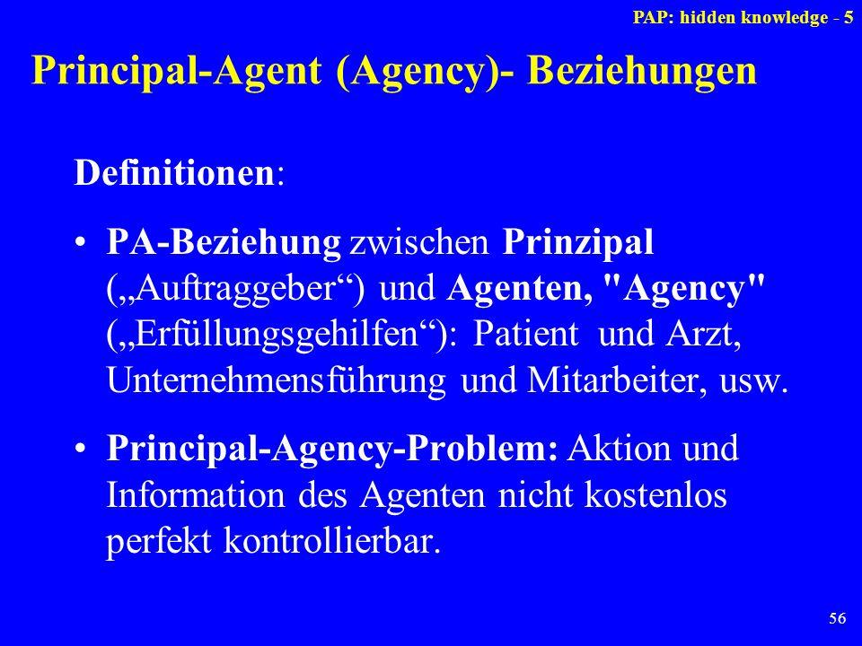 56 Principal-Agent (Agency)- Beziehungen Definitionen: PA-Beziehung zwischen Prinzipal (Auftraggeber) und Agenten,