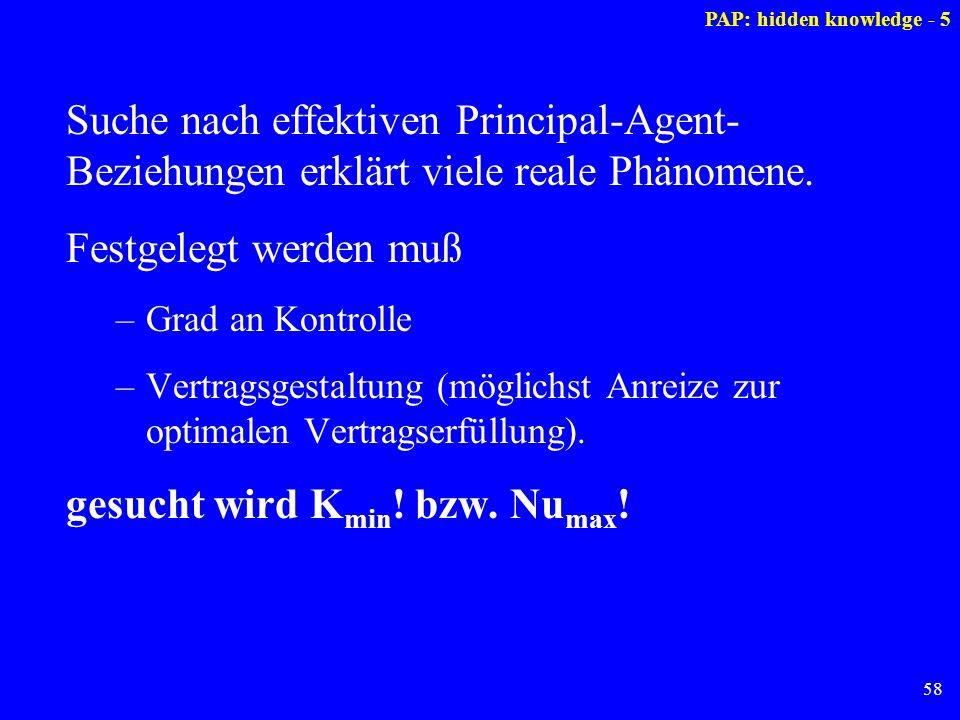 58 Suche nach effektiven Principal-Agent- Beziehungen erklärt viele reale Phänomene. Festgelegt werden muß –Grad an Kontrolle –Vertragsgestaltung (mög