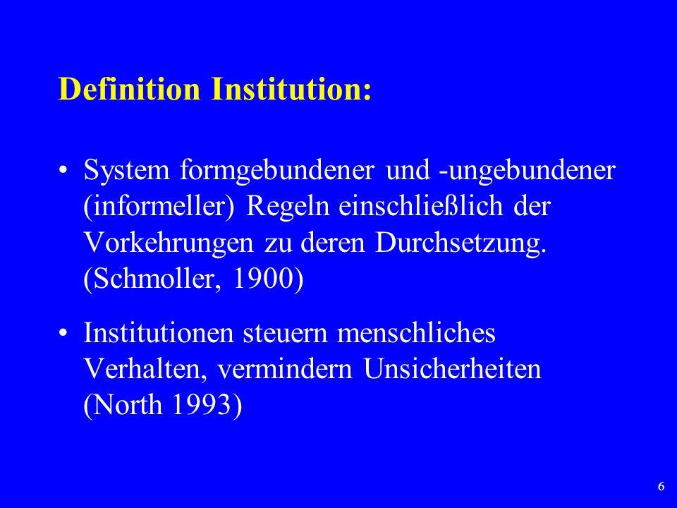 6 Definition Institution: System formgebundener und -ungebundener (informeller) Regeln einschließlich der Vorkehrungen zu deren Durchsetzung. (Schmoll
