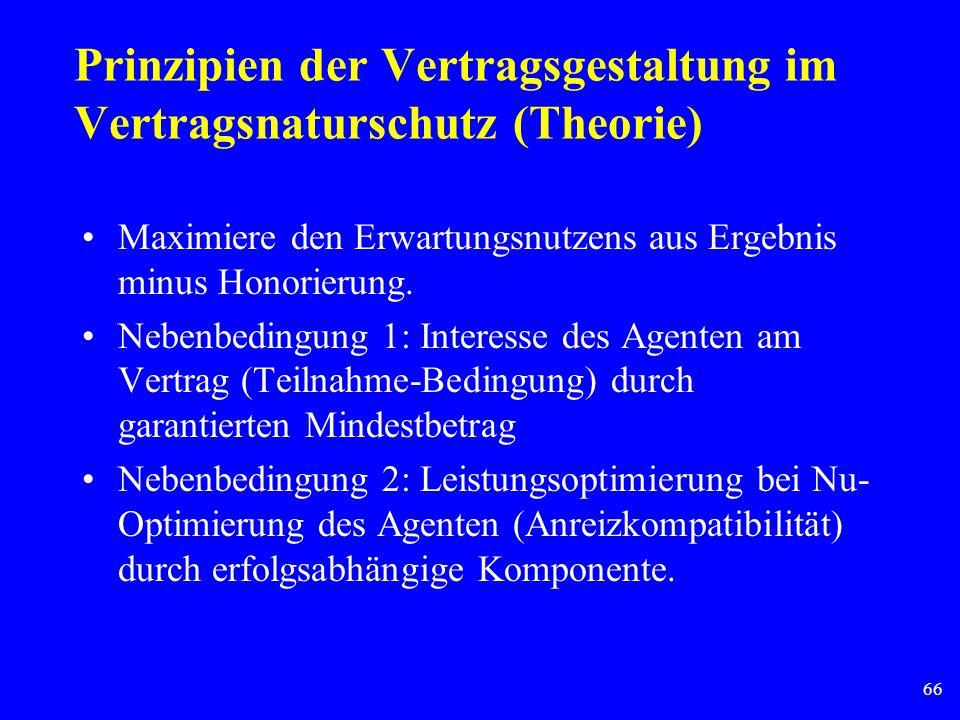 66 Prinzipien der Vertragsgestaltung im Vertragsnaturschutz (Theorie) Maximiere den Erwartungsnutzens aus Ergebnis minus Honorierung. Nebenbedingung 1