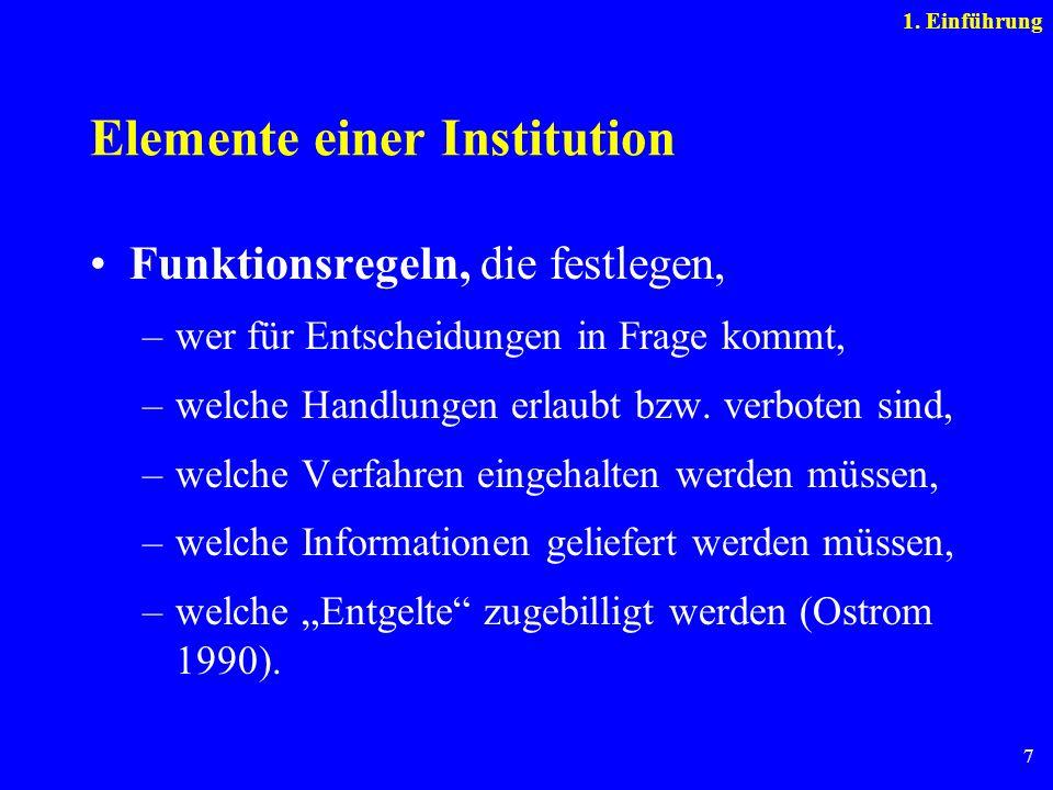 7 Elemente einer Institution Funktionsregeln, die festlegen, –wer für Entscheidungen in Frage kommt, –welche Handlungen erlaubt bzw. verboten sind, –w