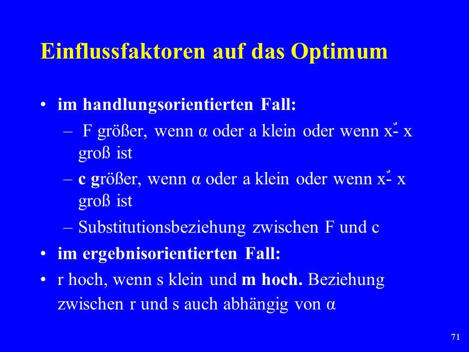 71 Einflussfaktoren auf das Optimum im handlungsorientierten Fall: – F größer, wenn α oder a klein oder wenn xٌ- x groß ist –c größer, wenn α oder a k