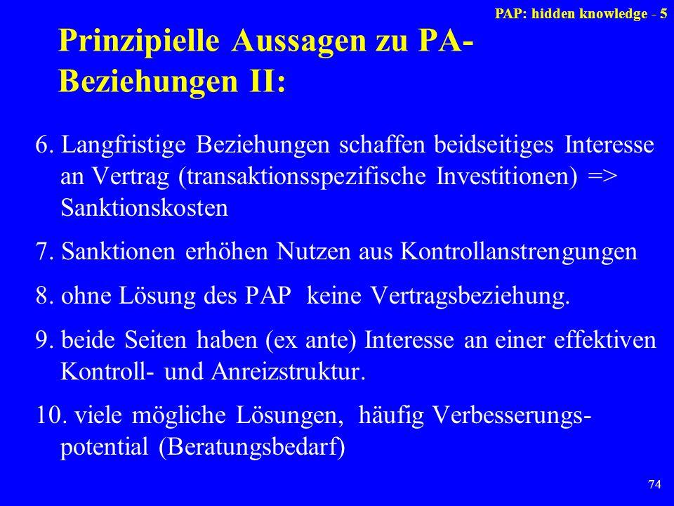 74 Prinzipielle Aussagen zu PA- Beziehungen II: 6. Langfristige Beziehungen schaffen beidseitiges Interesse an Vertrag (transaktionsspezifische Invest