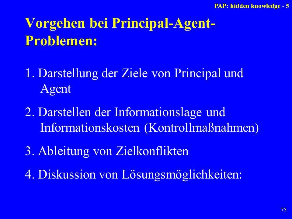 75 Vorgehen bei Principal-Agent- Problemen: 1. Darstellung der Ziele von Principal und Agent 2. Darstellen der Informationslage und Informationskosten