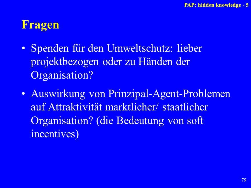 79 Fragen Spenden für den Umweltschutz: lieber projektbezogen oder zu Händen der Organisation? Auswirkung von Prinzipal-Agent-Problemen auf Attraktivi