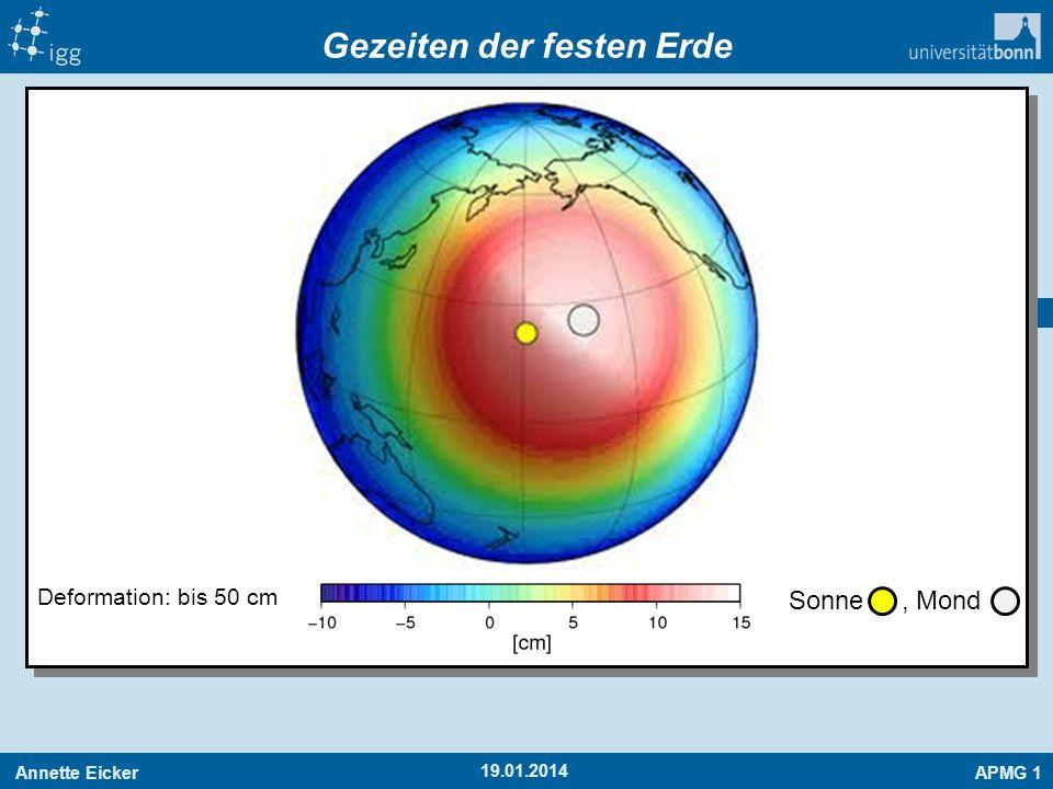 Annette EickerAPMG 1 17 19.01.2014 Gezeiten der festen Erde Sonne, Mond Deformation: bis 50 cm