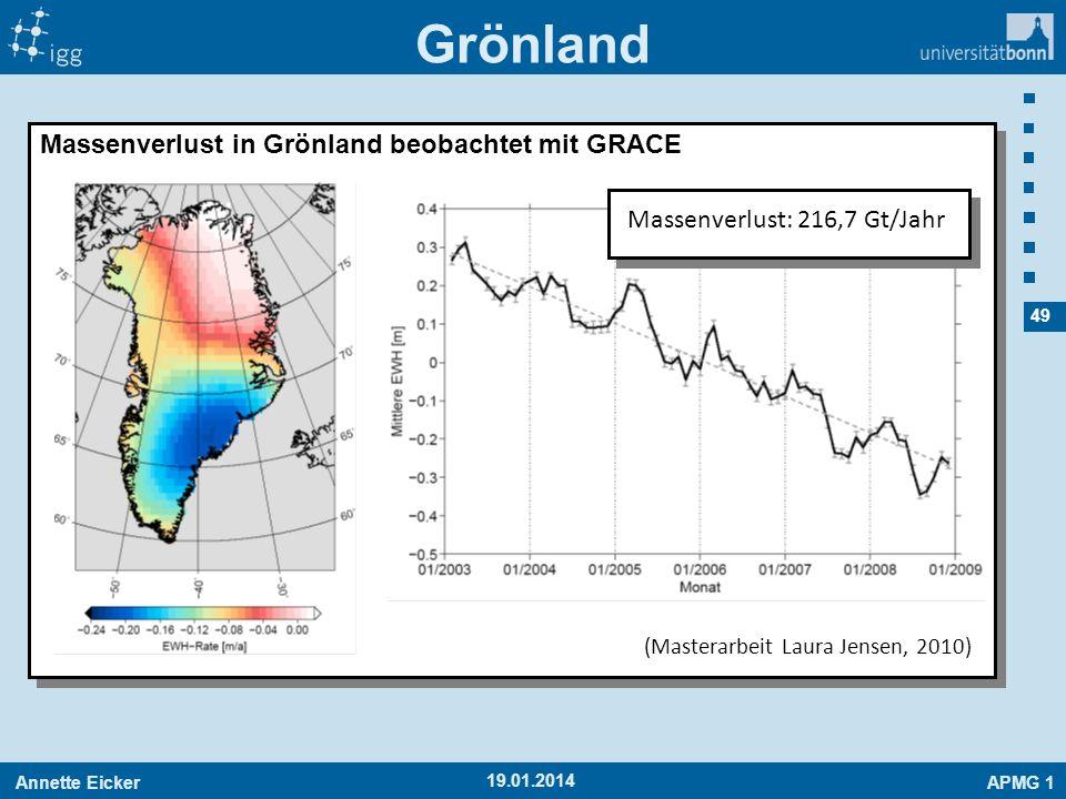 Annette EickerAPMG 1 49 19.01.2014 Grönland Massenverlust in Grönland beobachtet mit GRACE (Masterarbeit Laura Jensen, 2010) Massenverlust: 216,7 Gt/J