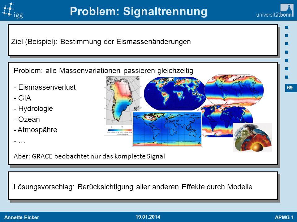Annette EickerAPMG 1 69 Problem: Signaltrennung 19.01.2014 Ziel (Beispiel): Bestimmung der Eismassenänderungen Lösungsvorschlag: Berücksichtigung alle