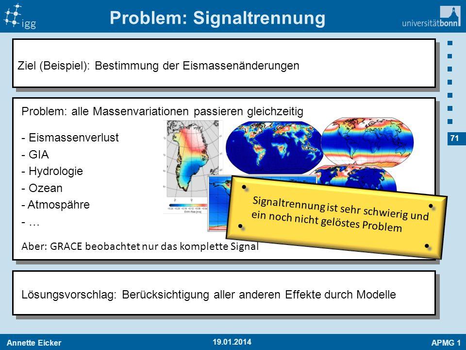 Annette EickerAPMG 1 71 Problem: Signaltrennung 19.01.2014 Ziel (Beispiel): Bestimmung der Eismassenänderungen Lösungsvorschlag: Berücksichtigung alle